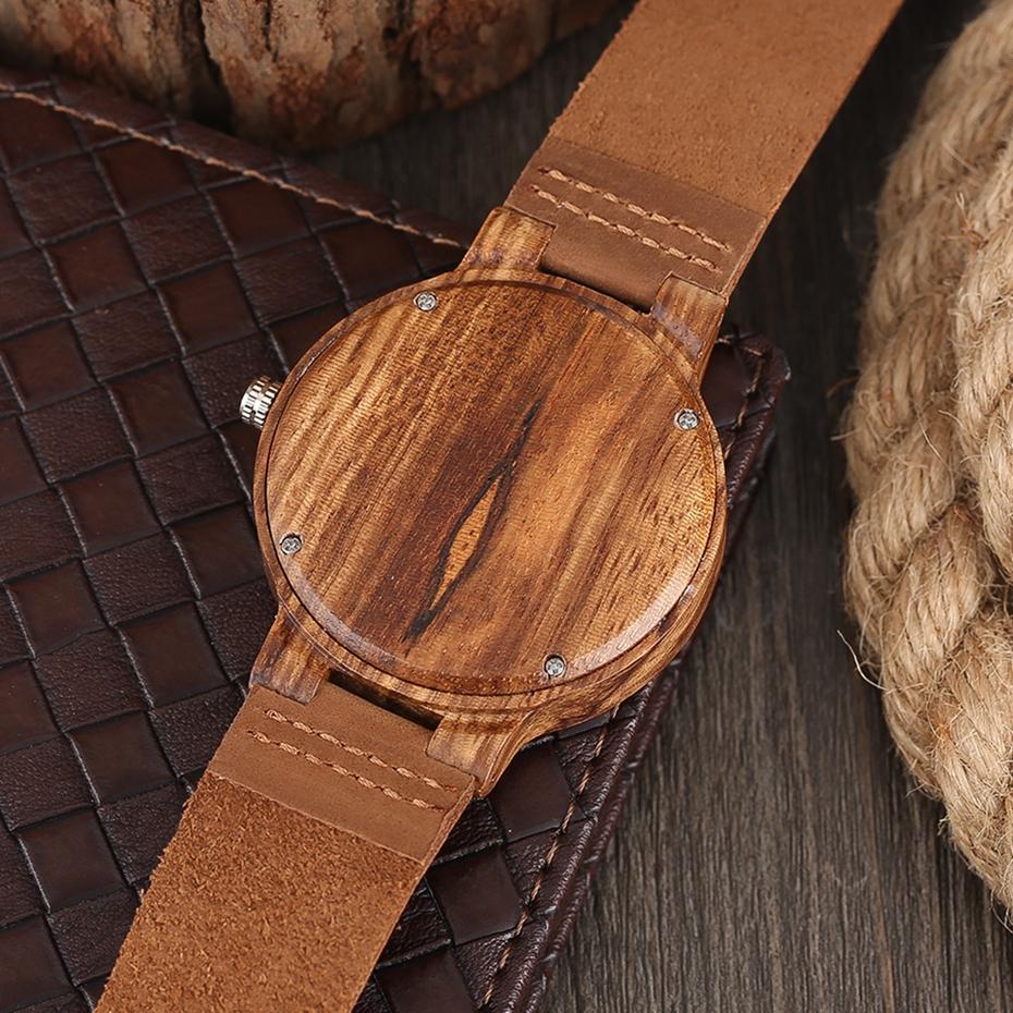 Unique Stripes Lines Dial Wooden Watch Mens Bamboo Creative Quartz Clock Genuine Leather Bangle Reloj de madera 2017 New Fashion  (12)