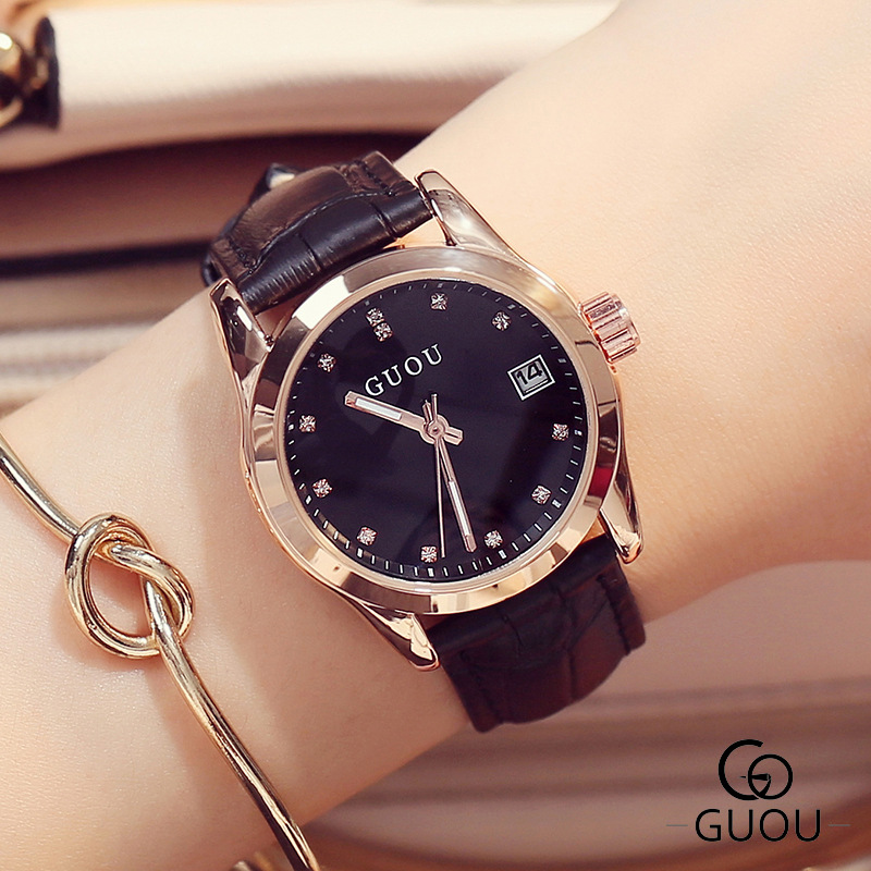 GUOU Ladies Fashion Quartz Watch Women Rhinestone Leather Casual Dress Women's Watch Rose Gold Crystal reloje mujer montre femme ladies fashion brand quartz watch women rhinestone pu leather casual dress wrist watches crystal relojes mujer 2016 montre femme