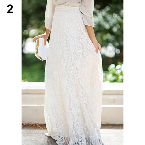 Women Summer Skirt Gypsy Boho Lace Layered Hitched Maxi Skirt A Line Long Skirts Hot Sale