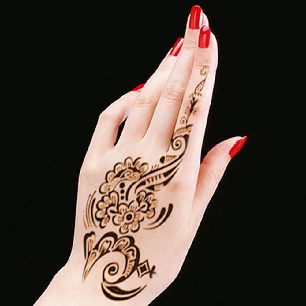 New Tattoo Body Art Henna Mehndi Stencils Indian Wedding Flower Stickers Hand Feet Paint Template Stencil Glitter 2PC In From Beauty