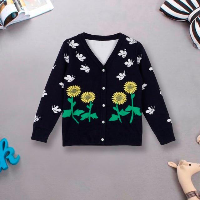 2-6 Years Little Kids Baby Boys Slim Buttons Cardigan Coats Long Sleeve Sunflower Sweater