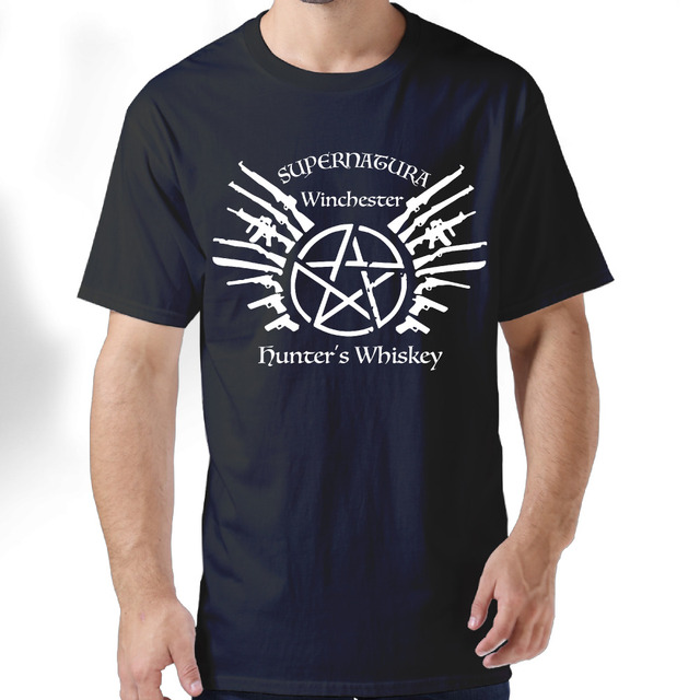 f59c1e6e16e3 2017 Supernatural Winchester Hunter s Whiskey Print Premium Cotton Summer T  shirts Men Cool Style Custom
