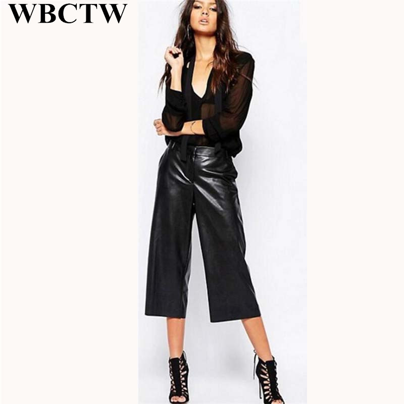 7f0b500241b8e High Waist Pants Fashion PU Leather Wide Leg Street Outfits Summer Loose  Trousers With Belt Black Casual Pantalon Large Femme -in Pants & Capris  from ...