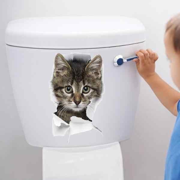 1PCS Nette 3D Kätzchen Wc Aufkleber Katze Auf Der Wand Küche Kühlschrank Aufkleber Für Wohnzimmer Schlafzimmer Wohnkultur