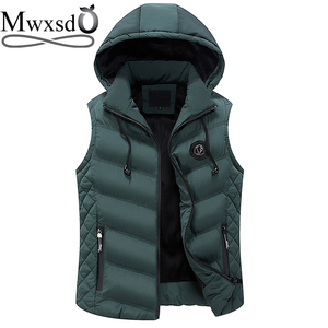 Image 2 - Mwxsd Brand Winter mens Warm sleeveless Vest men cotton hooded jacket male zipper Waistcoat for Autumn male gilet homme