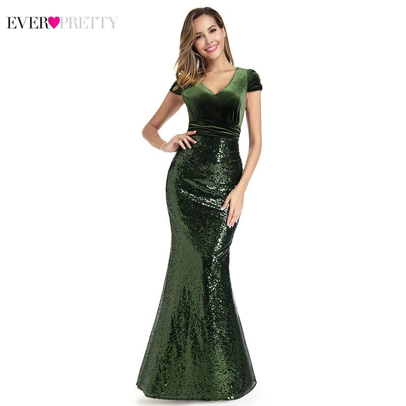Dark Green Mermaid Evening Dresses Ever Pretty EP00922DG V-Neck Short Sleeve Sequined Sexy Formal Dresses Robe De Soiree 2019