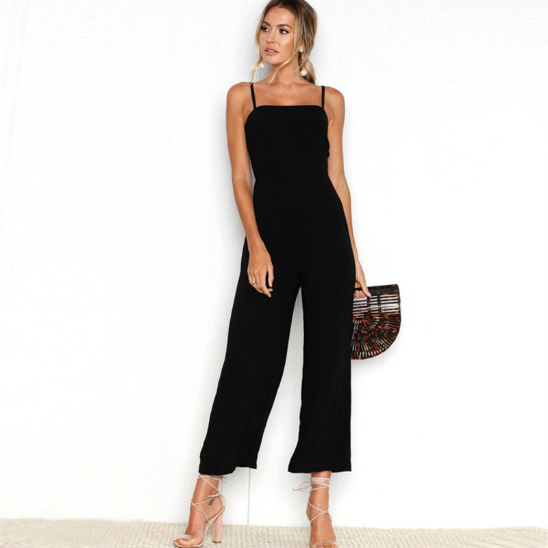 Elegant   Jumpsuits   for Women Sexy Sling Square Collar Backless Zipper Wide Leg Loose Long overalls Combinaison Femme wy*