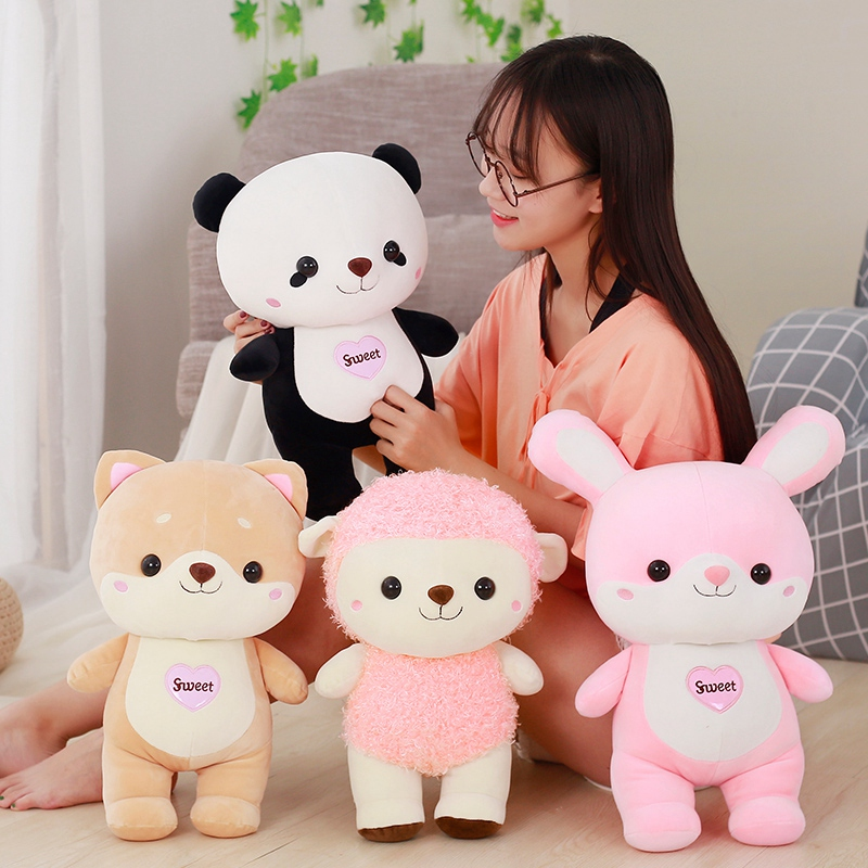 30cm Cartoon Animal Plush Toys Staffed Down Cotton Shiba Inu, Rabbit, Panda Sheep Dolls Kawaii Kids Toy Lovely Birthday Gift the lovely panda toys sitting panda plush doll with red heart soft toy birthday gift about 30cm