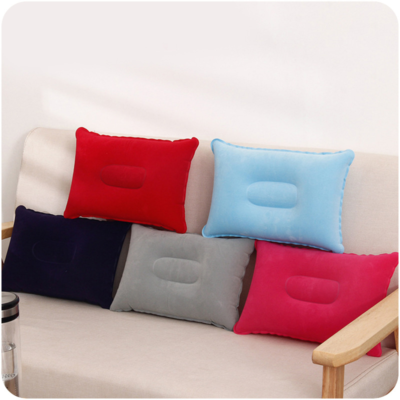 2017 Air Inflatable Pillow Outdoor Portable Folding Double Sided Flocking Cushion for Travel Plane Hotel Hot Worldwide 1PC