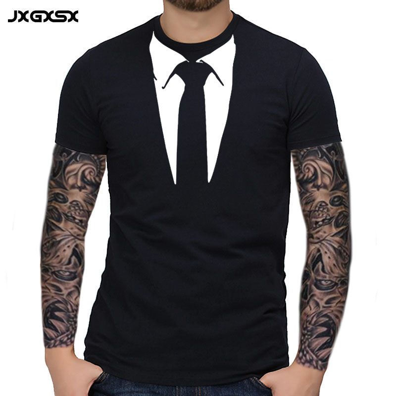 JXGXSX Summer Men T-shirt Homme Streetwear Tuxedo Tees Retro Tie Funny Casual Short Sleeved Tops Cotton T-shirt Tee Camisetas