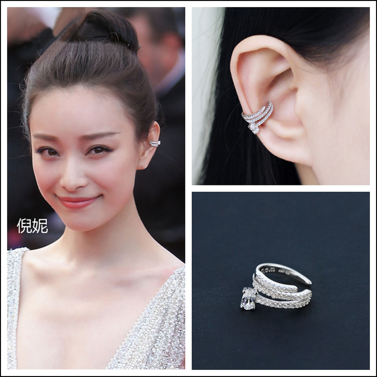 2017 New Style Micro Inlay AAA+ Premium Clear Zircon Crystals No Ear Hole Silver Clip Earrings For Women Fashion Jewelry