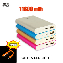 Cargador de Batería portable 11800 mAh banco de alimentación Externa powerbank para todos los teléfonos móviles de metal + luz led