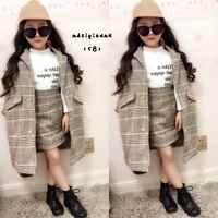 Mihkalev fille automne tenues 2019 automne hiver enfants vêtements ensemble manteau + jupe bébé filles survêtement enfants laine vêtements ensembles