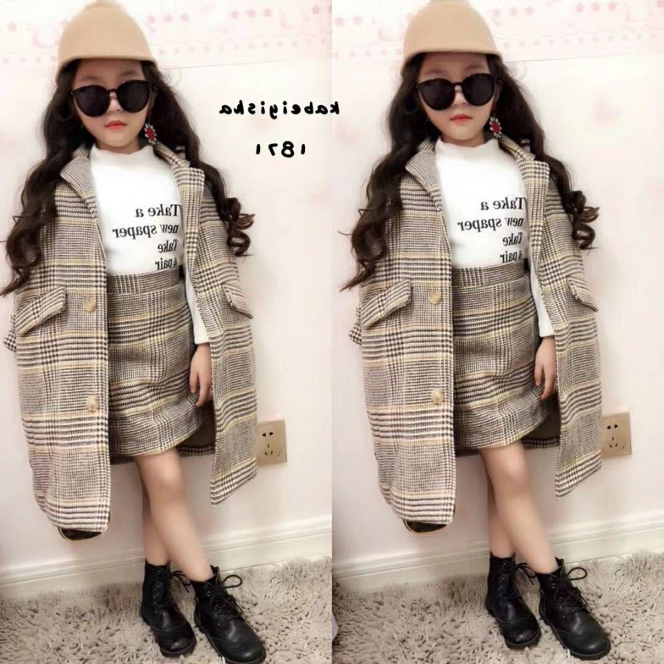 Mihkalev Girl fall outfits 2021 autumn winter children clothing set Coat+Skirt  baby girls tracksuit kids Woollen Clothes sets