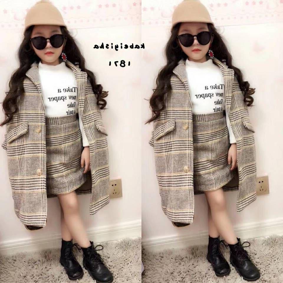Mihkalev Mädchen herbst outfits 2020 herbst winter kinder kleidung set Mantel + Rock baby mädchen trainingsanzug kinder Woll Kleidung sets