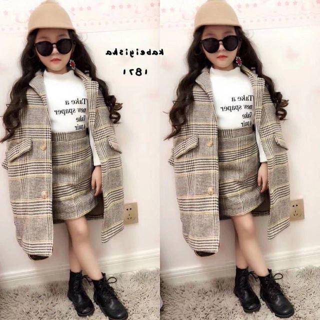 Mihkalev de moda niño niña ropa de otoño niños ropa conjunto abrigo + falda  + 2 640aff7e3570
