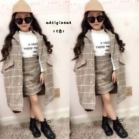 Mihkalev Girl fall outfits 2019 autumn winter children clothing set Coat+Skirt baby girls tracksuit kids Woollen Clothes sets