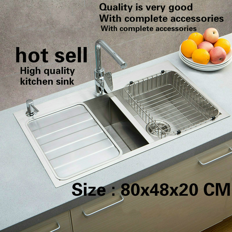 Free Shipping Big Luxury Kitchen Manual Sink Double Groove Durable 304 Food-grade Stainless Steel Standard Hot Sell  800x480 MM