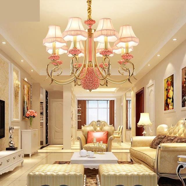 exhibition hall Chandelier Living Room Lamp All Copper Ceramic ...