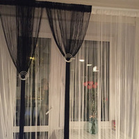 Extra Big Size String Curtain 300*360CM Solid Color For Living Room Bedroom Line Curtain Window Blind Vanlance Room Dviderr