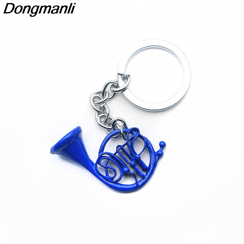 1pcs New How I met your Mother Blue French Horn keychain Pendant with Silver Chain TV Series Jewelry Mother's Day Gift carsafe sfd 001