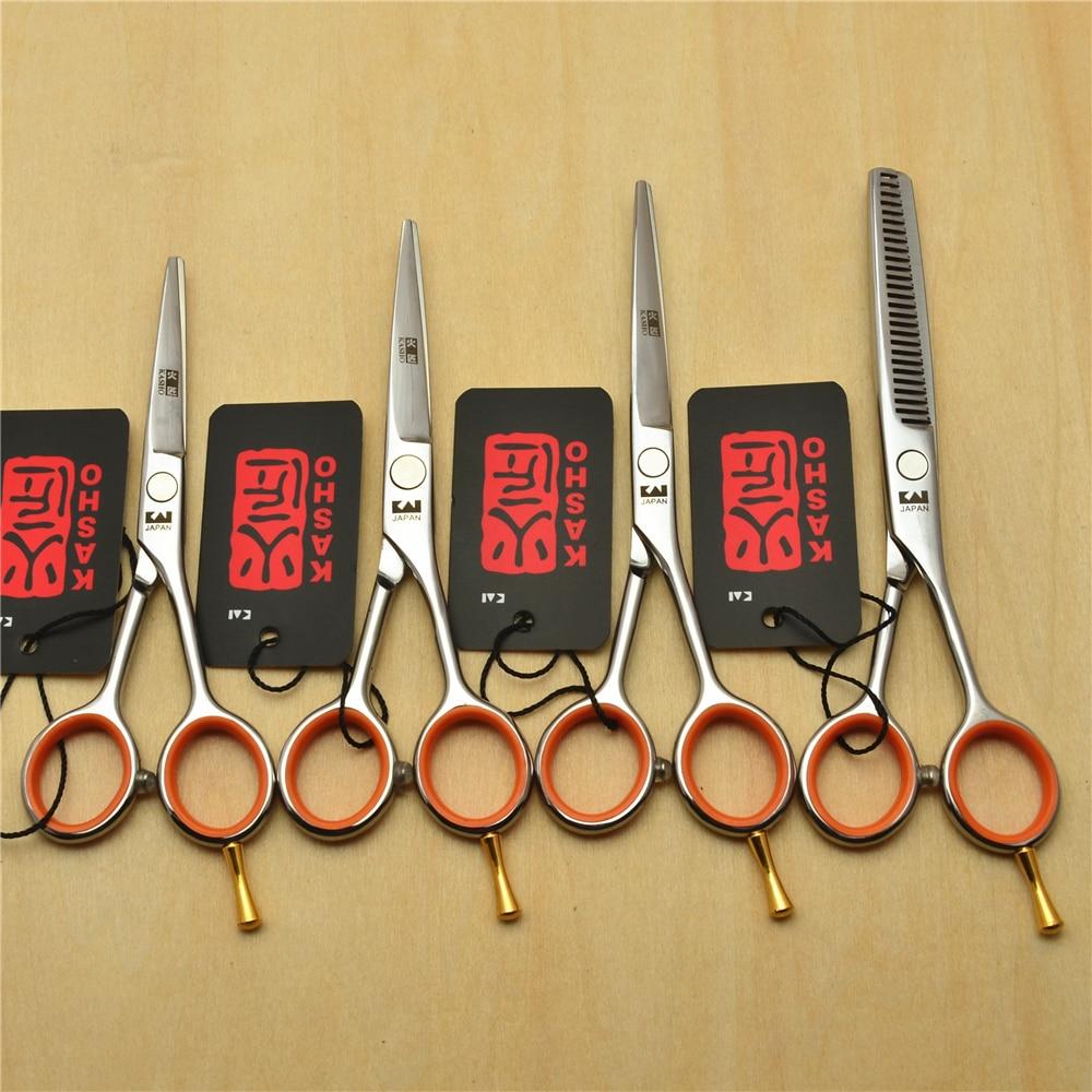 4.0'' 5.0'' 5.5'' Japan Kasho 440C Professional Human Hair Scissors Hairdressing Scissors Cutting Shears Thinning Scissors H1017
