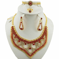 red and blue colour India women jewelry sets african wedding jewelry sets women necklace big jewelry sets