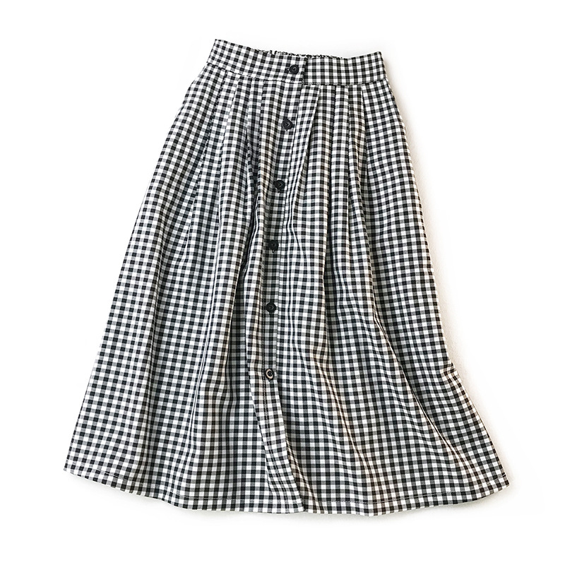 Women Classic Vintage Midi Skirts 2019 New Spring Summer Fashion Plaid Skirt Female A Line Single Breasted Skirt Faldas Mujer