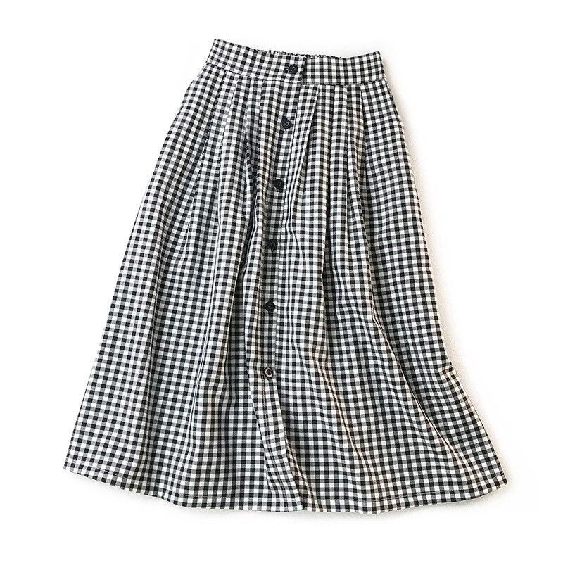 Women Classic Vintage Midi Skirts 2020 New Spring Summer Fashion Plaid Skirt Female A Line Single Breasted Skirt Faldas Mujer