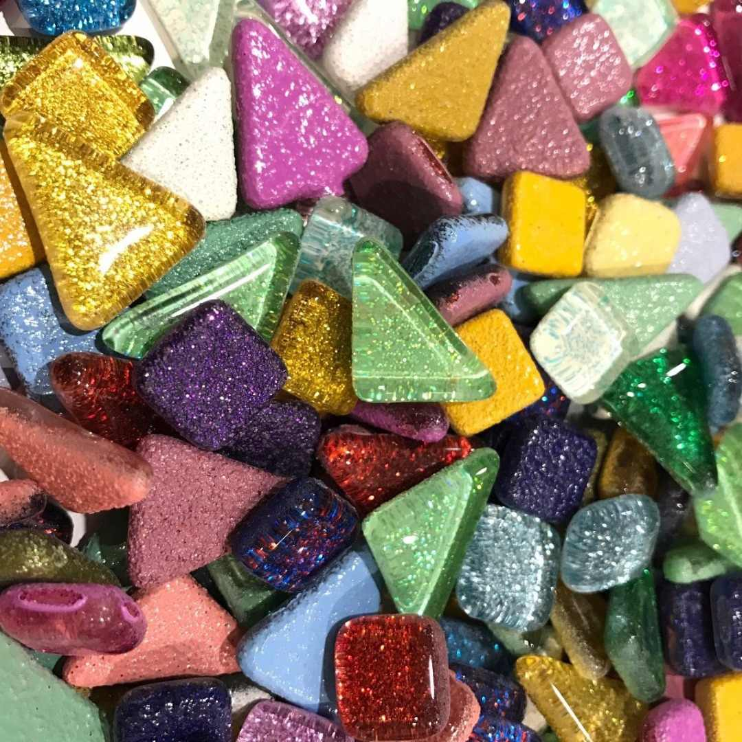 120g 70pcs Colorful Glitter Shiny Craft Material Glass Mosaic Tiles Bulk for Mosaic Making DIY Craft Art