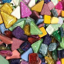 120 г 70 шт яркие блестящие стеклянные мозаичные плитки для