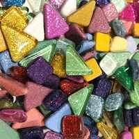 120g 70pcs Colorful Glitter Shiny Craft Material Glass Mosaic Tiles Bulk for Mosaic Making DIY Craft Art