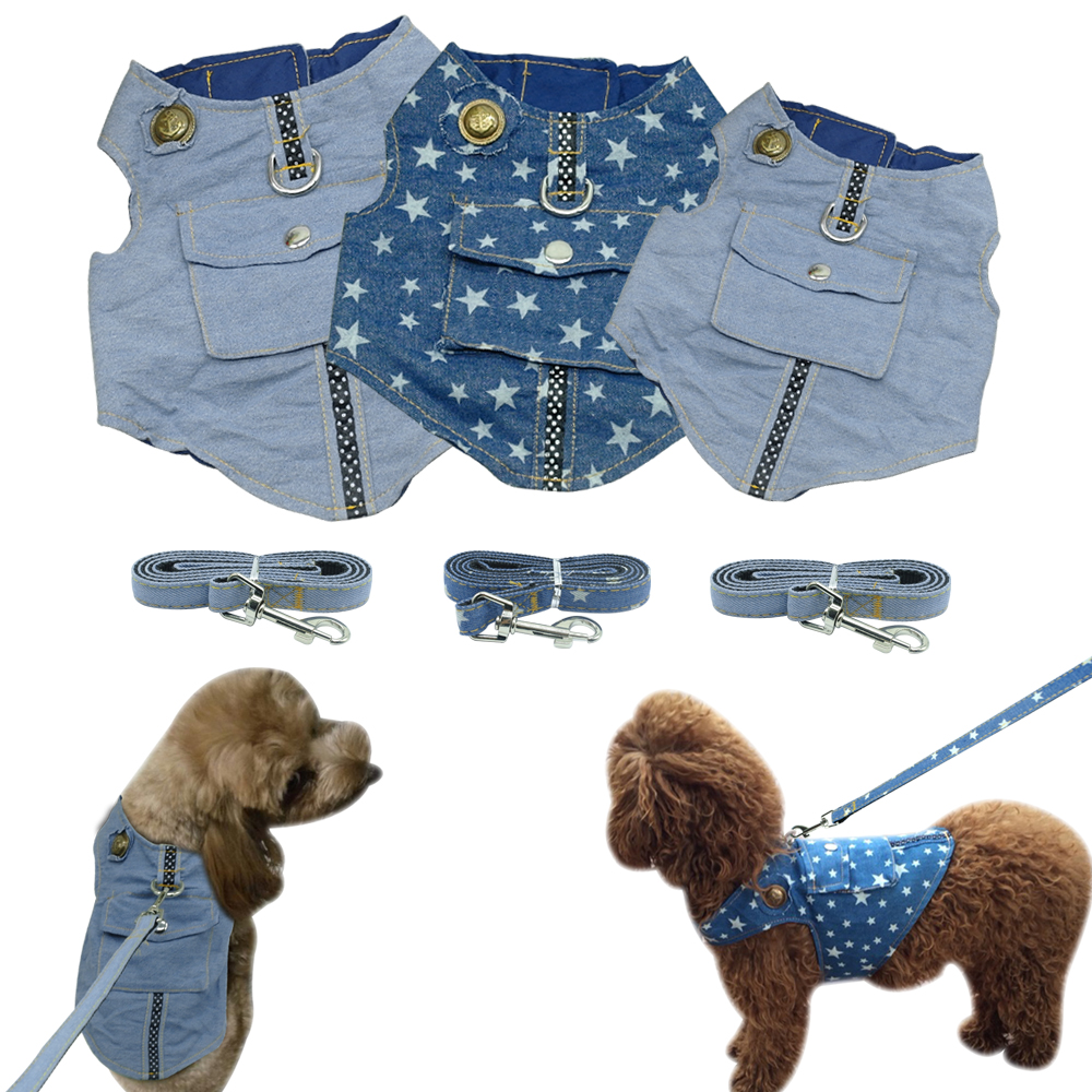 Denim Dog Harness Vest and Leash Blue Padded Jacket Jean Star Clothes with Pocket For Small Dogs Cat Chihuahua