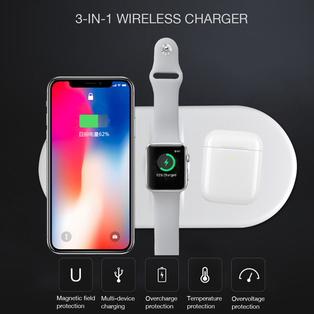 For Apple Watch / AirPods Mobile QI 3 in 1 Fast Wireless Charger for QI 2W 5W 7.5W 10W s Device Charging (with 30W Adapter)