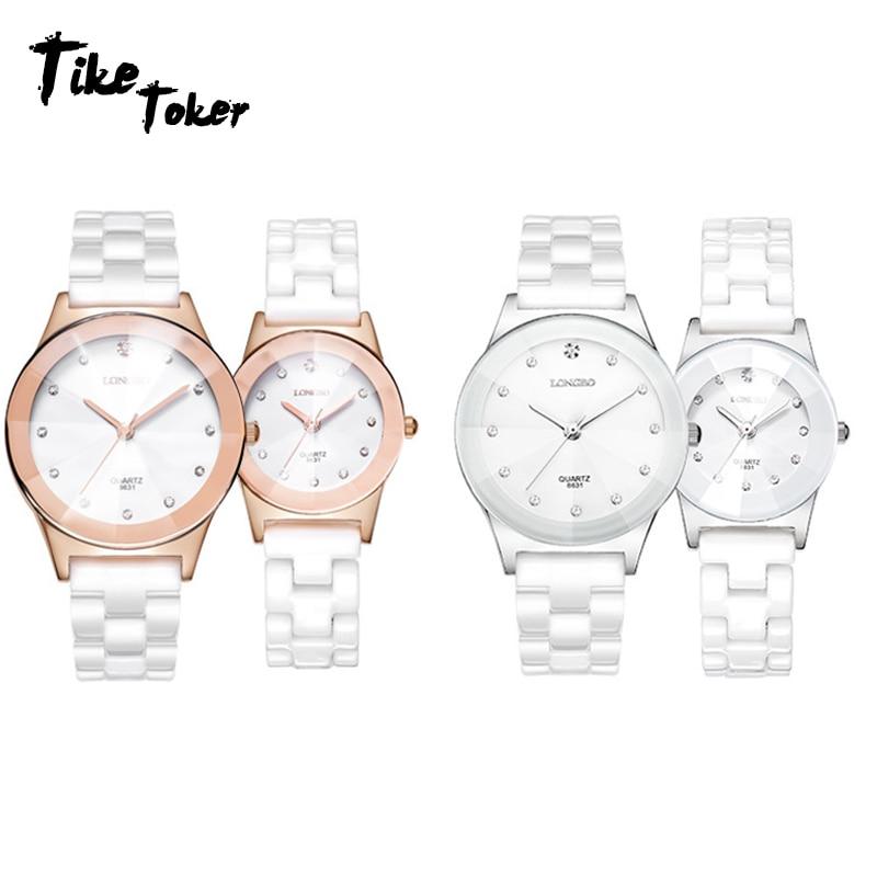 TIke Toker,Luxury White Ceramic Water Resistant Classic Easy Read Sports Women Wrist Watch,Lady Rhinestone Wristwatch Analog