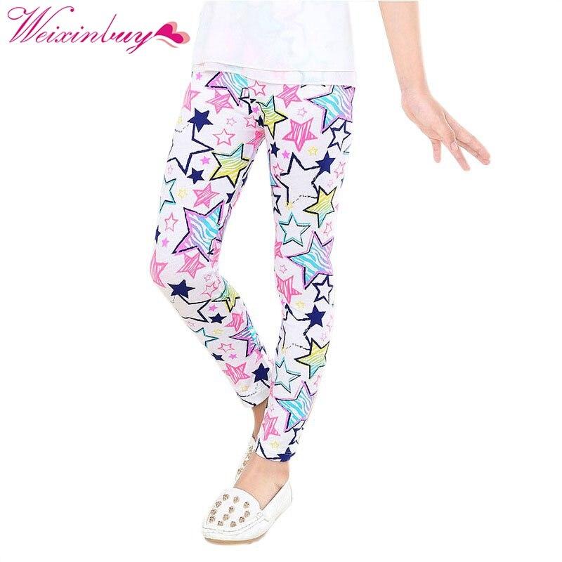 Baby Kids Girls Leggings Pants Star Flower Floral Printed Elastic Long Trousers Hot 2-14Y