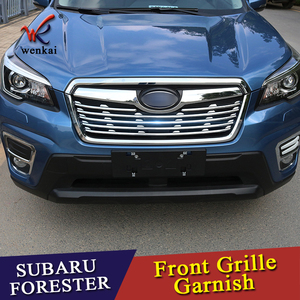 For Subaru Forester SK 2018 2019 ABS Chrome Front Grille Grill Cover Trims Decoration Stickers Car-Styling Accessories 6pcs/set(China)