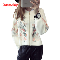 Dunayskiy Women Clothes Autumn Cardigan Coat Floral Embrodiery Round Neck Long Sleeve Loose Female Tops Jackets Bomber Outerwear