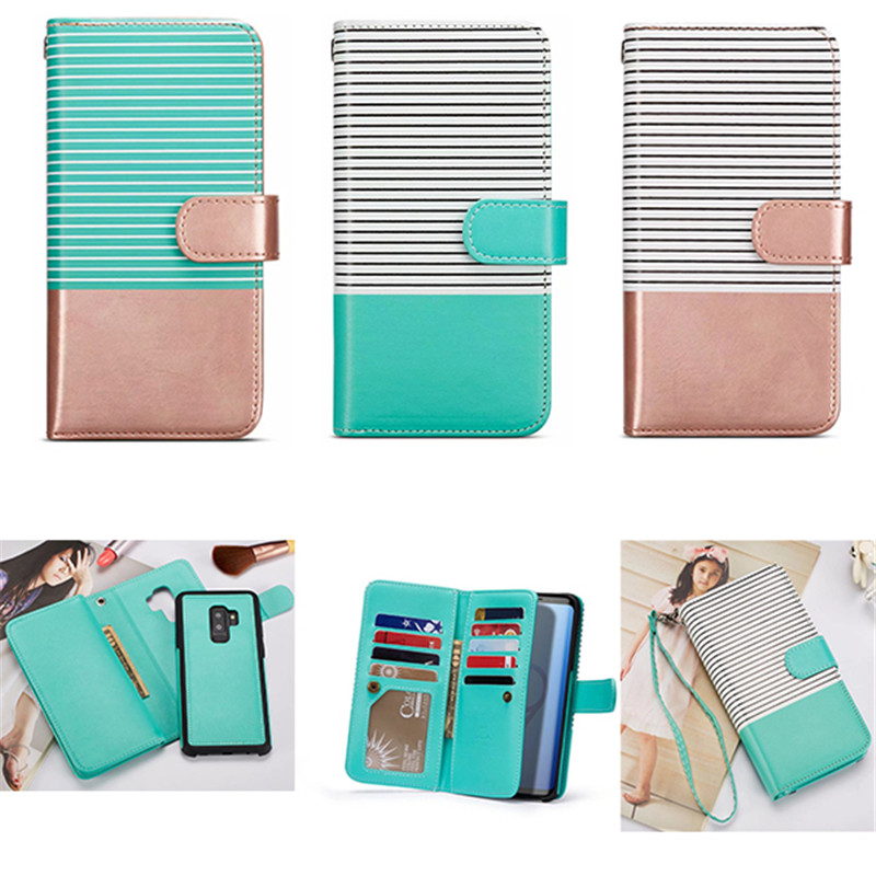 PU leather stripe 9 card separable phone case Magnetic leather Wallet Case for iphone X 6 7 8 5S Plus Samsung galaxy S9 S8 Plus