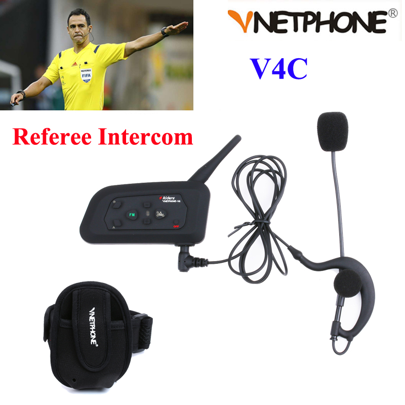 цены  Vnetphone V4C Football Referee Intercom Full Deplux Bluetooth Helmet Intercom Motorcycle BT Interphone Headset Earphone