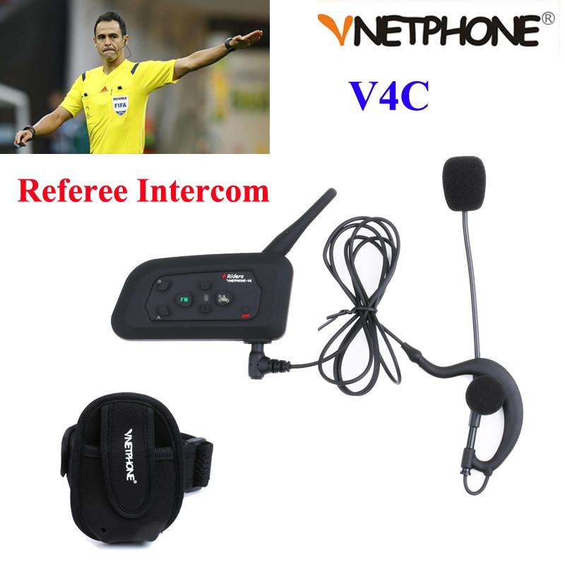 Vnetphone V4C Football Referee Intercom Full Deplux Bluetooth Helmet Intercom Motorcycle BT Interphone Headset Earphone