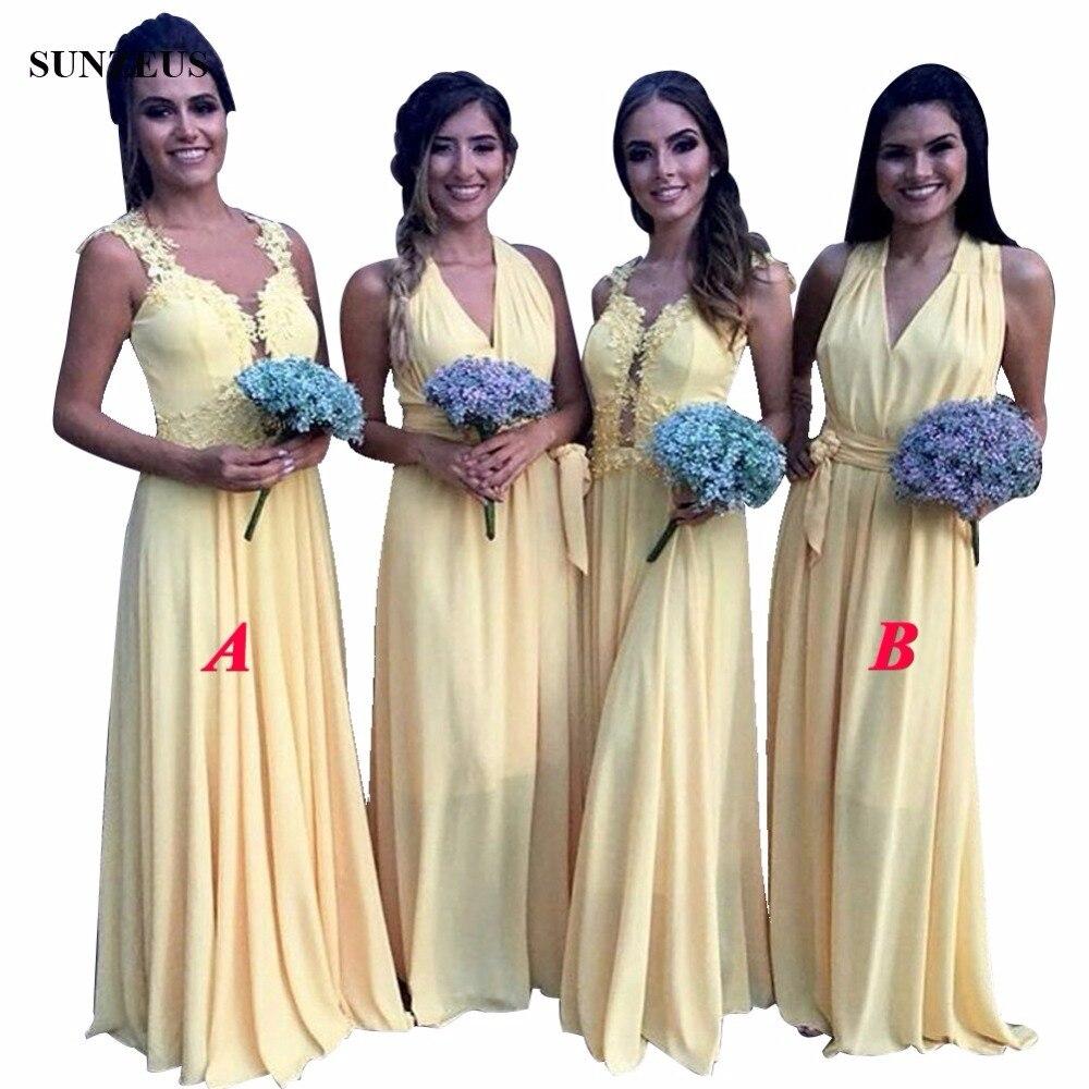 8265 8 De Descuentovestidos Amarillos De Dama De Honor 2018 Largo Elegante Vestido De Fiesta De Boda De Gasa Con Apliques De Perlas Kleid