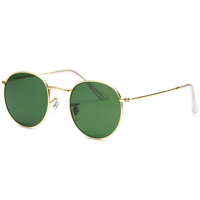Gafas De Sol redondas clásicas 2018 G15 lentes De cristal moda mujeres  hombres marca Vintage Metal f4256b57befa