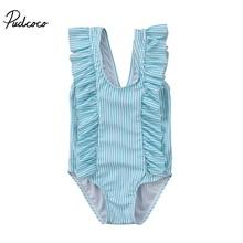 Pudcoco брендовые Детские для маленьких девочек Полосатые Купальники prtint купальник бикини без рукавов малыша ванный комплект стильные пляжная одежда