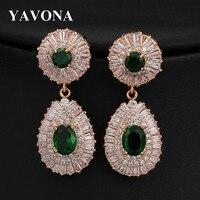 YAVONA Trendy Cubic Zirconia Dangle Earrings For Women Luxury Wedding Bridal Water Drop Earrings Jewelry Earrings