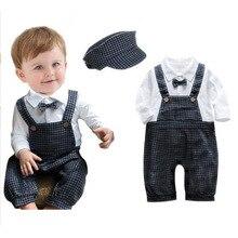 ZOETOPKID для маленьких мальчиков комбинезон фирменные клетчатые галстук ремень ползунки+ шапочка 2 шт. Весна Одежда для новорожденных мальчиков для 3-9 м Детский костюм