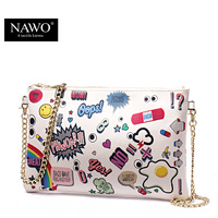 NAWO New Genuine Leather Envelope Clutch Bags Cartoon Printing Day Clutches Purse Small Chain Bag Women