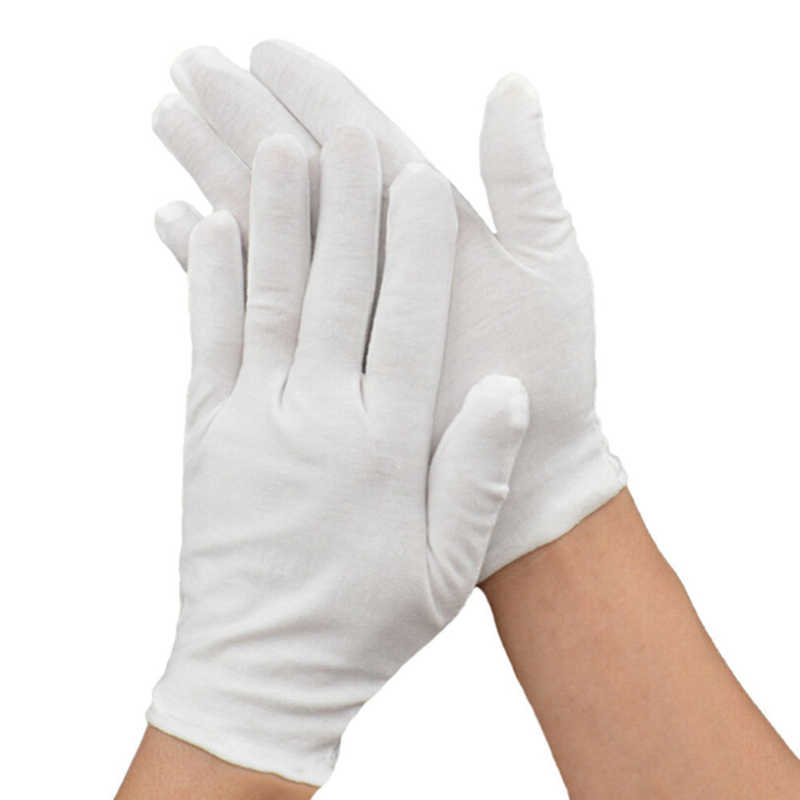 1pair White 100% Cotton Ceremonial Gloves For Male Female