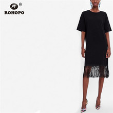 цены на ROHOPO Summer Tassel Hem Midi Dress Black Crochet Bodycon Solid Straight Dress Female Long Top Clothe #XZ1990  в интернет-магазинах