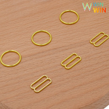 лучшая цена Wholesale 50sets/100pcs bra rings and sliders various size of gold metal alloy bra strap slides and rings